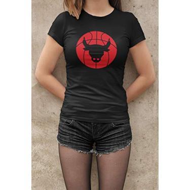 Camiseta Baby Look Fãs de Esportes Basquete E6 Feminino Preto Tamanho:GG