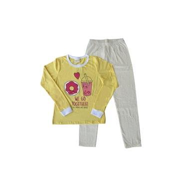 Pijama Infantil Menina Manga Longa Rosquinha Amarelo Escuro e Calça Bolinhas