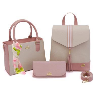 Imagem de Bolsa Feminina Transversal kit com 3 peças Bolsa, mochila e carteira e Lenço Livia Sabatini Nude com Rosa  feminino