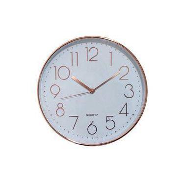 a78024b96d1 Relógio De Parede Branco E Rose Decorativo Redondo 29x4cm -