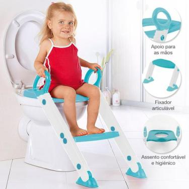 Assento Redutor Infantil Vaso Sanitário Escada Desfralde Azul Buba 119