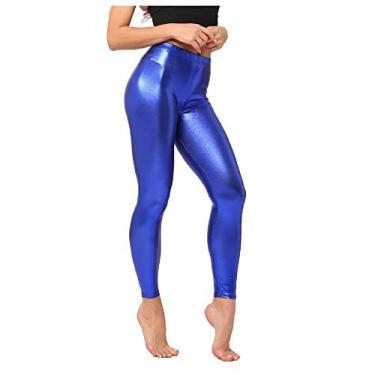 Doufine Calça legging feminina com acabamento metálico líquido para levantar o bumbum, Sapphire Blue, One Size
