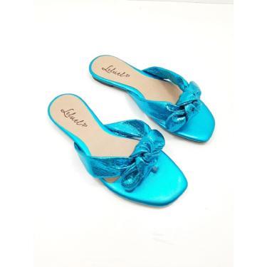 Rasteira Leluel Laço Azul Turquesa Verniz  feminino