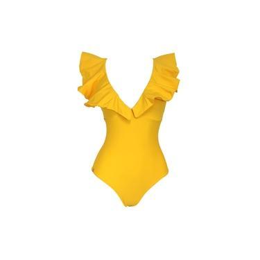 Maiô Feminino Via Sol Babado Amarelo
