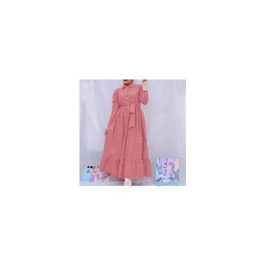 Zanzea feminino mangas compridas xadrez estampado com cinto com babados bainha camisas longas vestido muçulmano kaftan vestidos Vermelho L