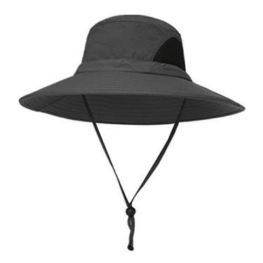 yotijar Chapéu de Verão Unissex, Chapéu de Proteção UV Solar, Chapéu de Aba Larga para Exteriores com - Cinza escuro
