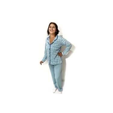 Roupa De Dormir Em Poliester Pijama Longo Feminino Estampado Inverno Calça E Camisa Com Botão