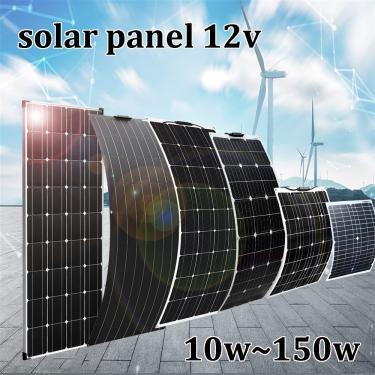 Painel solar 12v 150w 100 50 20 10 sistema fotovoltaico carregador de bateria para carro rv barco à