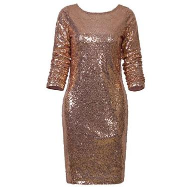 Imagem de Vijiv Vestido feminino de manga comprida com lantejoulas brilhantes e glamour, Dourado, Large