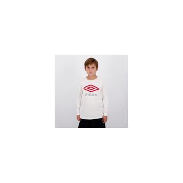 Imagem de Camiseta Umbro Basic UV Estampada Manga Longa Juvenil Branca