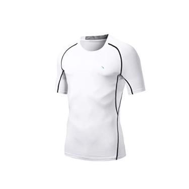Imagem de Camiseta masculina Nooz 4 Way Stretch Cool Tech de compressão de secagem rápida e manga curta, Branco, Medium