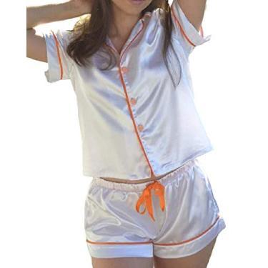 Pijama curto feminino (Médio, Pérola c/rosa)