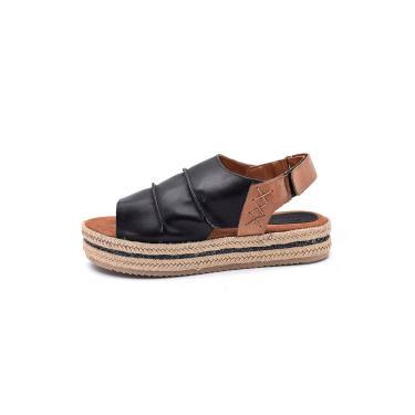 Sandália Flatform Scarpan Calçados Finos Em Couro Preto  feminino