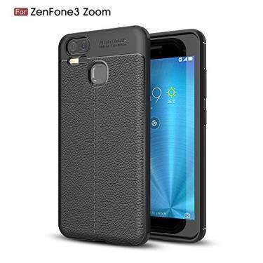 Capa para Asus Zenfone 3 Zoom ZE553KL com estampa Litchi e capa traseira ultrafina TPU preto