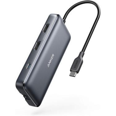Anker USB C Hub, Adaptador USB C 8-em-1 PowerExpand, com Dual 4K HDMI, 100W Power Delivery, 1 Gbps Ethernet, 2 portas de dados USB 3.0, SD e leitor de cartão microSD, para MacBook Pro, XPS e mais