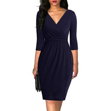 Liyinxi Vestido feminino clássico com gola V, manga 3/4, franzido, colado ao corpo, casual, para festa de trabalho, 8068-navy Blue, Large