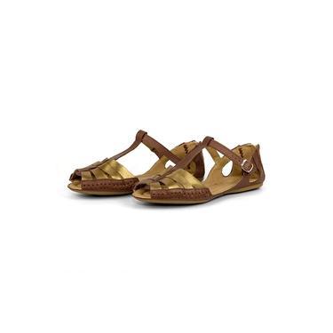 Imagem de Sandália Feminina Moleca Em Couro Conforto Q&A Calçados Bronze