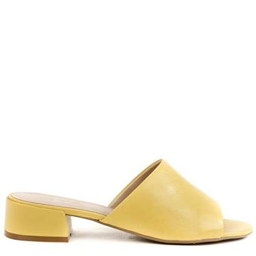 Sandália Tamanco Lollipop Couro Liso Amarelo 34