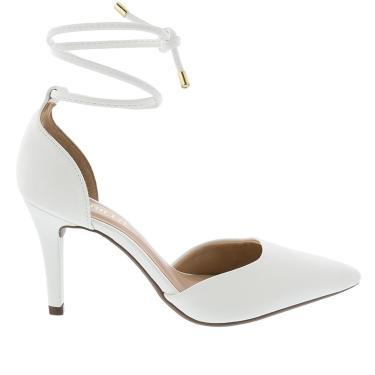 Sandália Gabriela Salto Fino com Amarração Branco  feminino