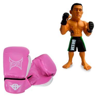 5cbb5951e Kit Luva Boxe Muay Thai Tapout Rosa 14oz + Boneco UFC Vitor Belfort Bermuda  Verde