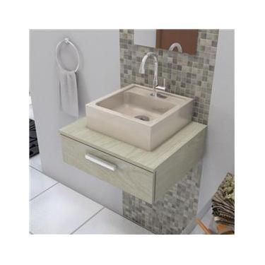 Cuba de Apoio Para Banheiro Quadrada 35X35 Cm Jully Bege