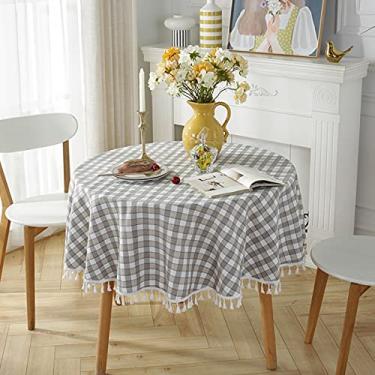 Imagem de jia cool Toalha de mesa de linho de algodão com borla para jantar de cozinha, toalhas de mesa sem rugas (220 cm redondo, cinza, marrom)
