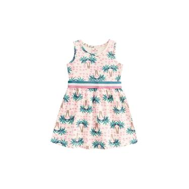Vestido Infantil Malha Coqueiros Creme Brandili