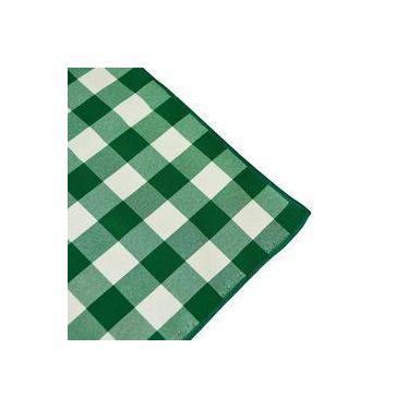 Imagem de Toalha De Mesa Redonda Em Tecido Xadrez Verde E Branco 1,50m