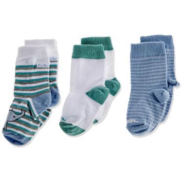 Mash Kit 3 Pares de Meia Casual, Bebê Unissex, Multicor (Azul/Branco/Verde), 16-21