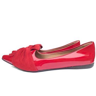 Sapatilha Laço Vermelha Bico Fino Verniz Confortavel Fun Store (34)