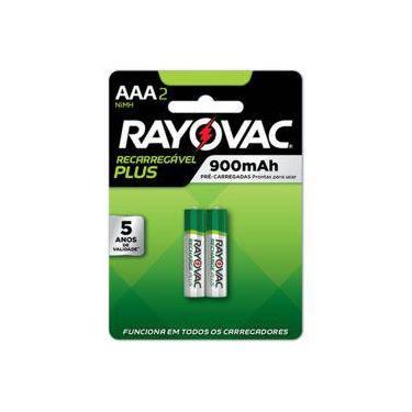 2 Pilhas AAA (palito) Recarregáveis Plus da Rayovac com 900 mAh