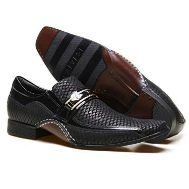 Sapato Social Masculino Calvest em Couro Snake Preto com Metal Dourado - 1930C229-37