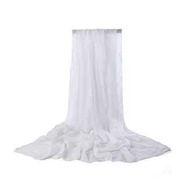Imagem de bjlongyi Lenço feminino macio de cor sólida, acessório longo para vestido de praia branco