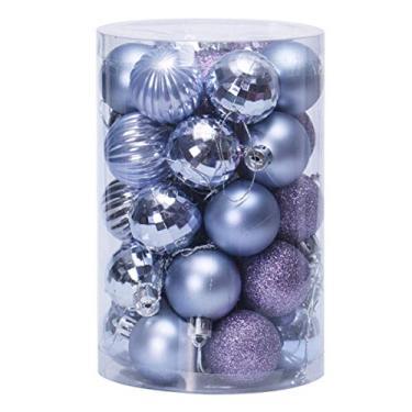STOBOK Bola Roxa de Natal Pendurada Glitter Bling à Prova de Estilhaços Bolas de Natal Enfeites Decorativos Pingentes Pendurados Enfeites Ãrvore de Natal Decorações para Festas de