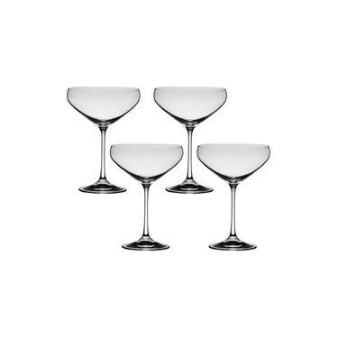 4 Taças De Cristal Para Cocktail 340ml Bar Bohemia Titânio