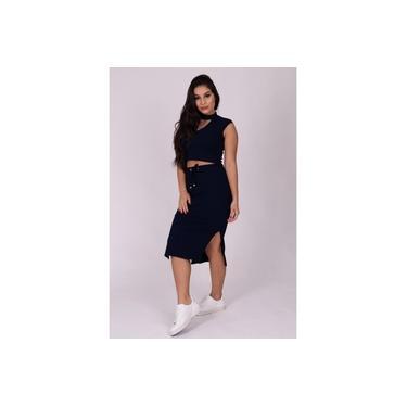 Saia Miss Misses Midi com Fenda Azul Marinho