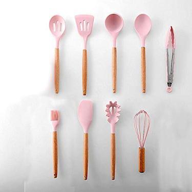 Aibecy 9 peças de utensílios de cozinha Conjunto de utensílios de cozinha Conjunto de utensílios de cozinha de silicone Conjunto de utensílios de cozinha com cabo de madeira Utensílios de cozinha anti