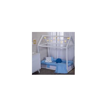 Imagem de Kit Jogo mini cama montessoriano 9 peças completo Azul com nervura