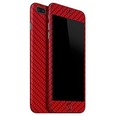 ADESIVO SKIN PREMIUM - FIBRA DE CARBONO IPHONE 8 PLUS (Vermelho)