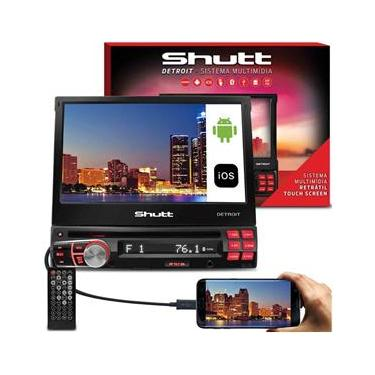 "DVD Player Automotivo Shutt Detroit Retrátil 7"" LCD Touch Bluetooth USB SD Espelhamento MP3 DVD HDMI"