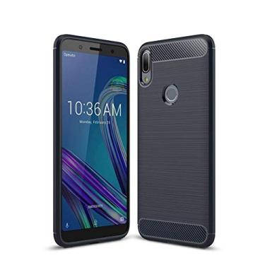 "Capa Capinha Anti Impacto Para Asus Zenfone Max Pro M1 Zb602kl Tela 6.0"" Case Desenho Fibra De Carbono - Danet (Azul Escuro)"