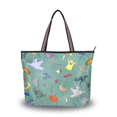 ColourLife Bolsa de ombro com tema de Dia das Bruxas, bolsa de mão para mulheres, Colorido., Medium
