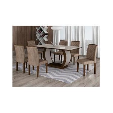 Conjunto de Mesa de Jantar com 6 Cadeiras Maia III Suede Animalle
