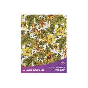 Imagem de Toalha De Mesa Retangular Em Tecido Jacquard Estampado Flor Hibiscus Amarelo