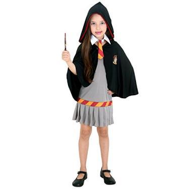 Fantasia Hermione Infantil Sulamericana Fantasias Cinza/Preto P 3/4 Anos