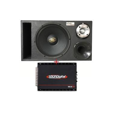 Caixa Trio Eros E-450LC Black 12 Po + D250x + St400 + Módulo Soundigital