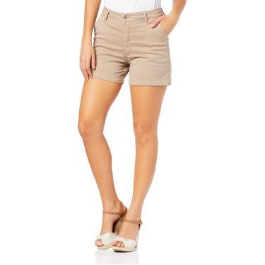 Shorts Alfaiataria cintura alta, Malwee, Femenino, Marrom Claro, 34