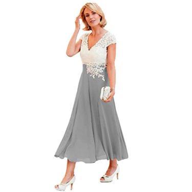 Vestidos de mãe da noiva com decote em V YMSHA para mulheres, comprimento até o chá, renda marfim, chiffon, vestido formal 2020 MM003, Prata, 16