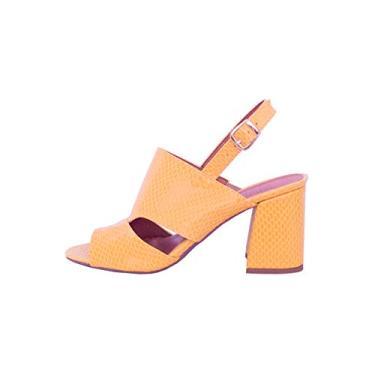 Imagem de Sandália Textura Pólen Salto Flare Cor:Amarelo;Tamanho:34;Gênero:Feminino