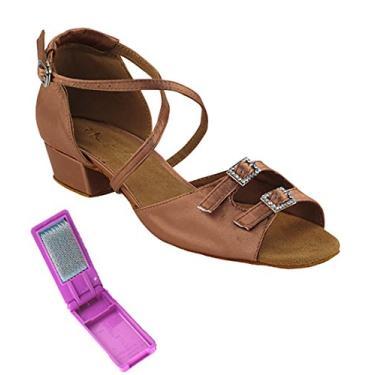 Sapatos de dança femininos de salão muito finos com salto de 2,5 cm + conjunto de escova dobrável, Cetim bronze, 7.5